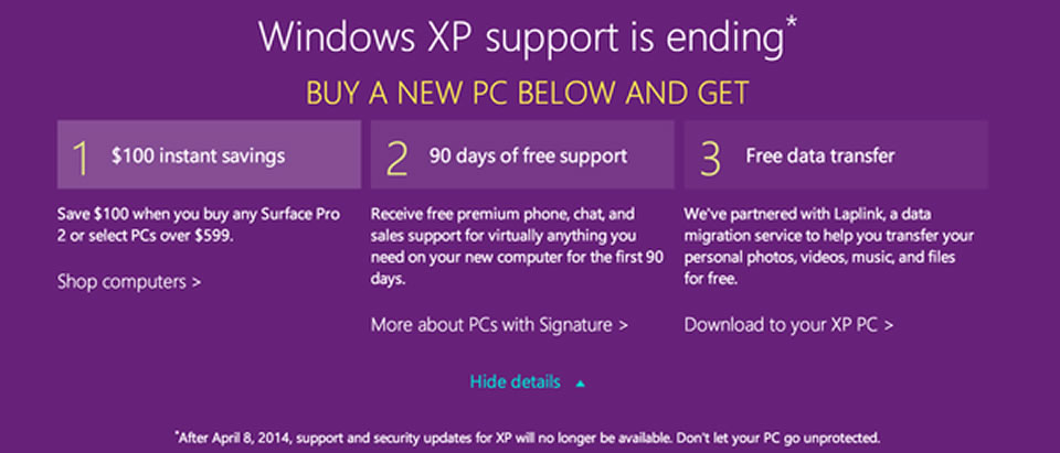 microsoft ends suppor for windows xp